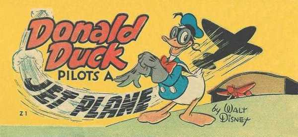 Donald Duck flies a plane