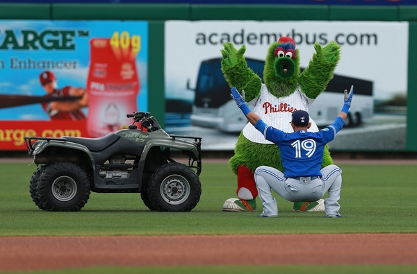 Jose Bautista and the Philly Phanatic