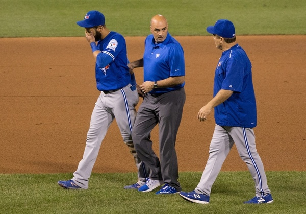 Jose Bautista with George Poulis and John Gibbons